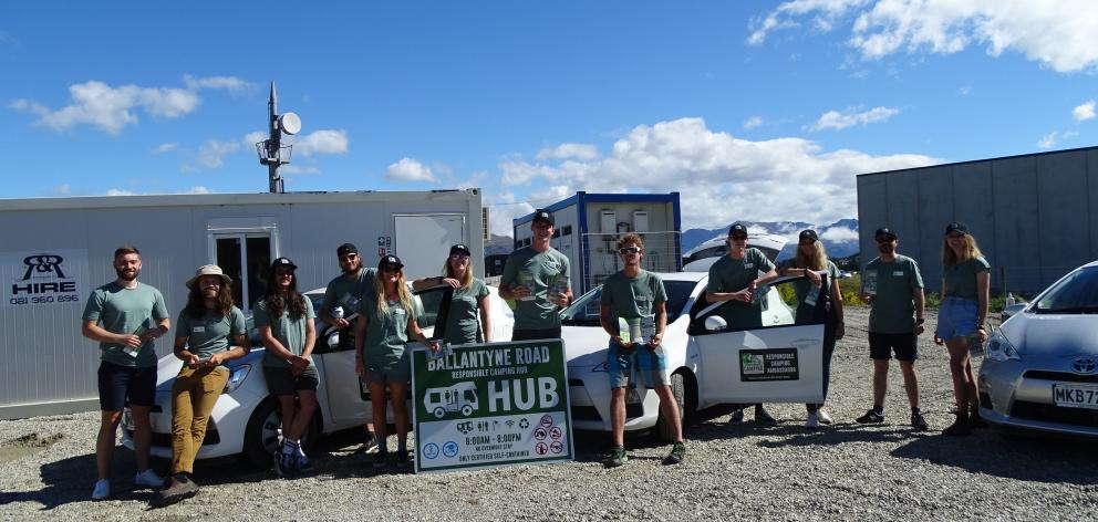 Visiting the service hub in Ballantyne Rd, Wanaka, on Thursday during their induction are camping...