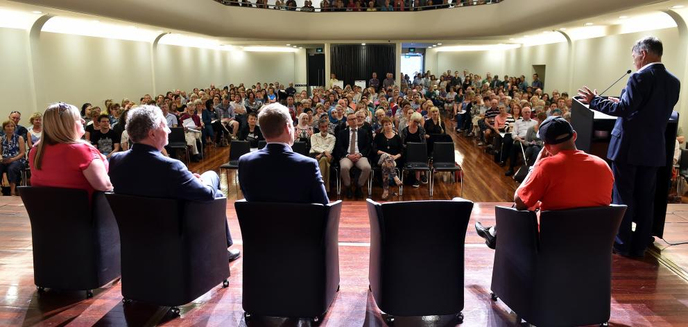 Dunedin Mayor Dave Cull speaks to a 250-strong crowd in the Glenroy Auditorium in 2016 about the...