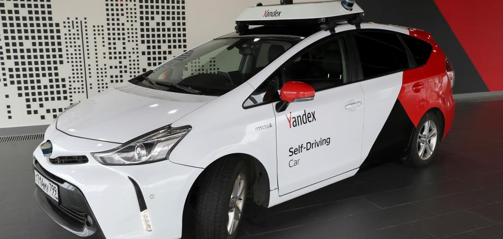 A self-driving car owned and tested by Yandex during a presentation in Moscow earlier this year....