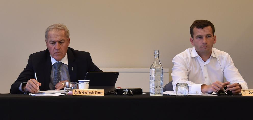 MPs David Carter and David Seymour at the hearing held in Dunedin on Thursday. PHOTO: GREGOR...