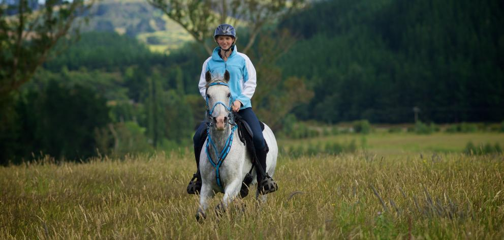 The National Endurance Riding Championships will be hosted in Otago's Nenthorn Valley next year. Pictured is Jorja James (19), from Herbert. Jorja is aiming to have three or four horses competing in the championships. Photo: Sarah Hamer