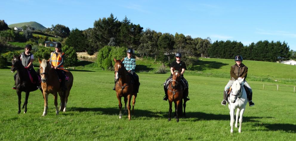 Members of the Brighton Adult Riders Club enjoy riding their horses in the safety of the Brighton Pony Club grounds. PHOTO: BRENDA HARWOOD