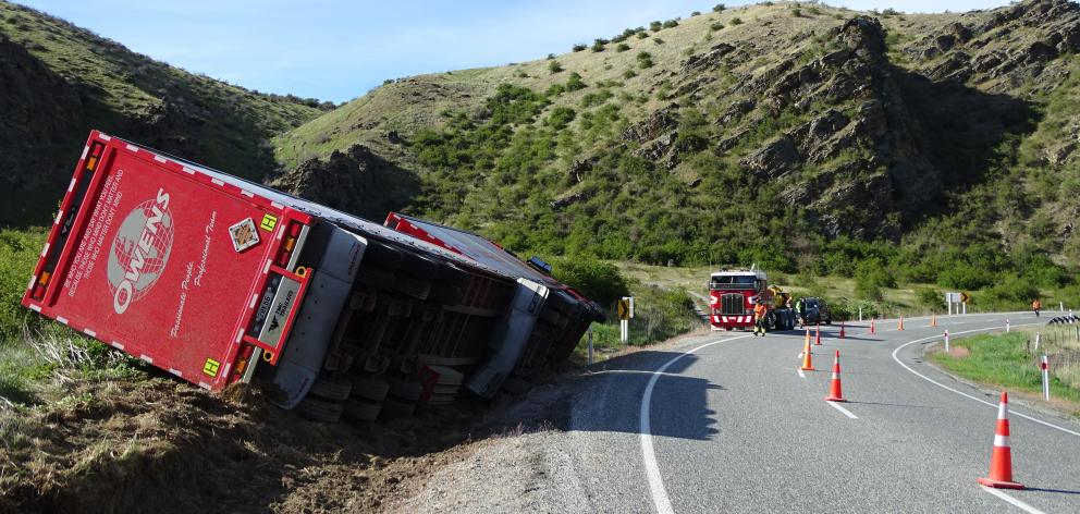 The truck remained at the crash site this morning on State Highway 8, near Tarras. Photo: Kerrie Waterworth