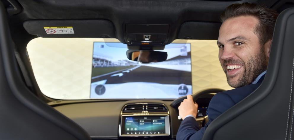 Luke Meurant, of Auckland, takes a test drive with a difference in a Jaguar  SVR XBox car in...