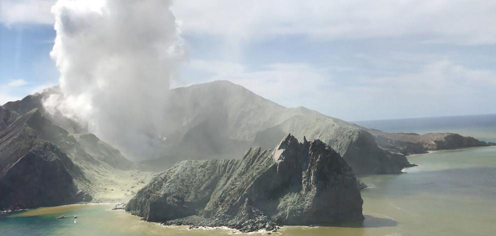 A view from the Westpac Rescue Helicopter of White Island after the eruption. Photo: Supplied