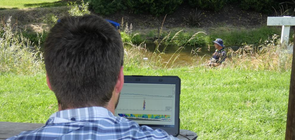 Otago Regional Council environmental officer Jono Young monitors data capture while Mike Anderson...