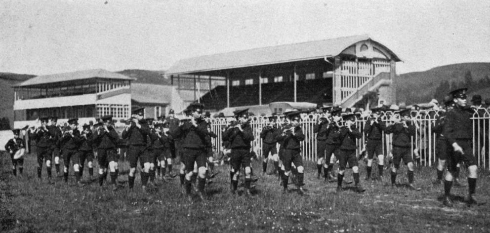 Albany Street School fife and drum band winning the A grade quickstep at the Taieri Agricultural Society's annual show at Wingatui racecourse. — Otago Witness, 2.12.1919.