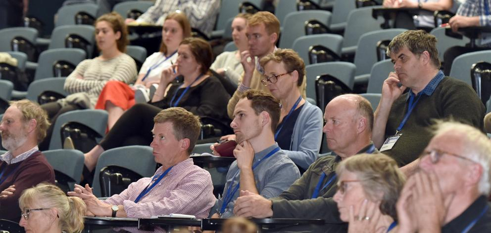 Audience members listen to a speaker at the Ag@Otago symposium at the University of Otago on...