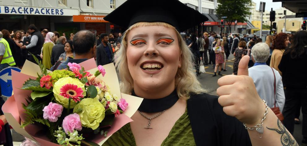 Courtney Barrow, of Oamaru, celebrates graduating from the University of Otago with a bachelor's degree in psychology. Photo: Stephen Jaquiery