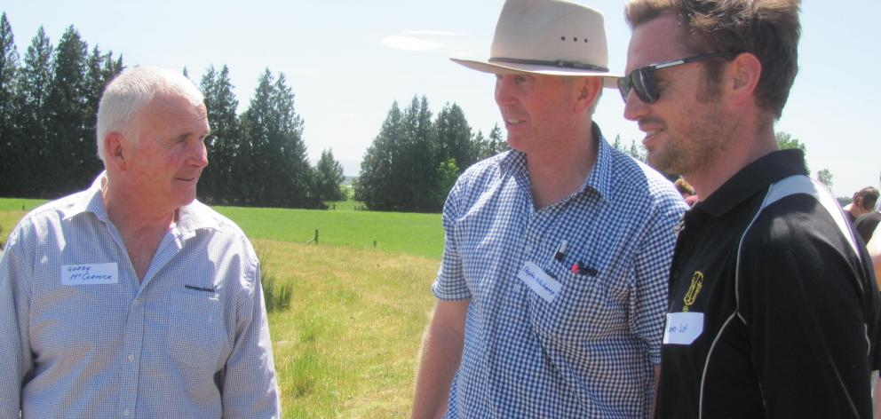 Ravensdown's Gordy McCormick (left), of Mayfield, talks with Ashburton College agriculture teachers Stephen Millichamp (centre) and James List on the farm of Chris and Anne-Marie Allen during the Teachers Day Out event.