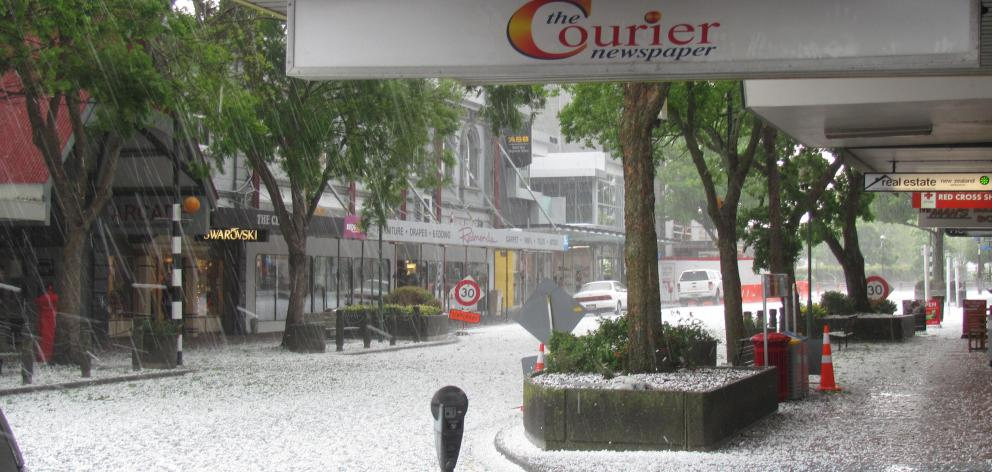 Hail hitting downtown Ashburton last month caused widespread damage. Photo: Toni WIlliams