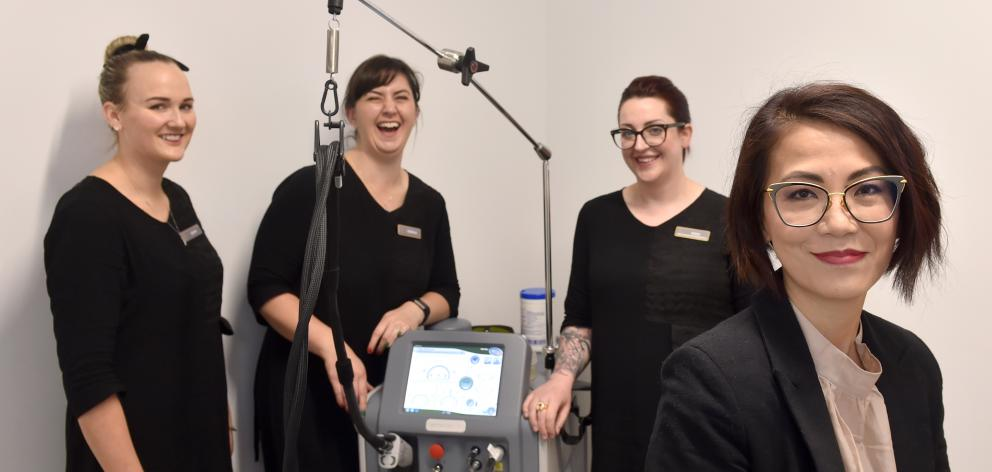 Groom Laser and Skin Clinic staff (from left) Julia Mulqueen, Serena Harbott, Erin van de Water and business owner Lee Tan, of Dunedin. Photo: Peter McIntosh