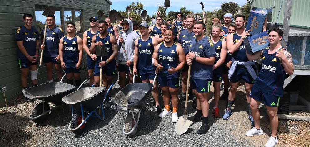 The 2020 Highlanders squad prepares to lend a hand at Orokonui Ecosanctuary yesterday. Photo: Craig Baxter