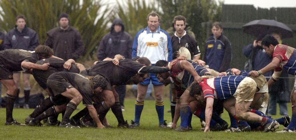 Jeff Grubb referees a match between Pirates and Harbour at Watson Park in 2007. PHOTO: CRAIG...