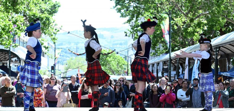 Ghillie Callum Dancers (from left) Grace Duxbury (11), Annie Jiang (13), Morgane Torr (17) and...