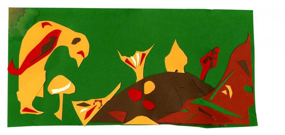 The mushroom people, collage, by Suus Agnes Claessen.