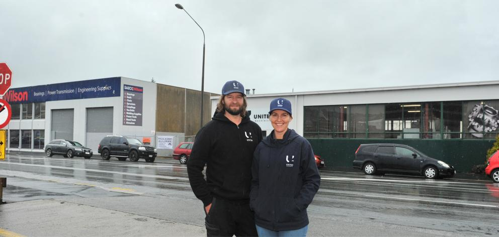 United Machinist owners Alex and Sarah Ramsay outside their expanded engineering site in Dunedin. Photo: Christine O'Connor