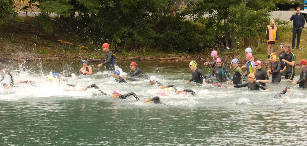 The Lake Dunstan triathlon event kicked off at McNulty inlet yesterday. Photos: Adam Burns