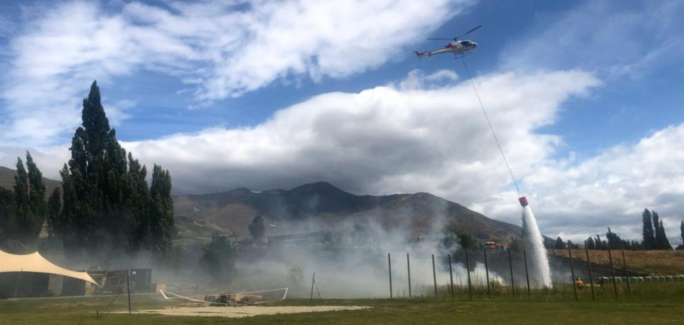 A fire came close to the Cargo Brewery building just off Gibbston Highway yesterday. PHOTO:...