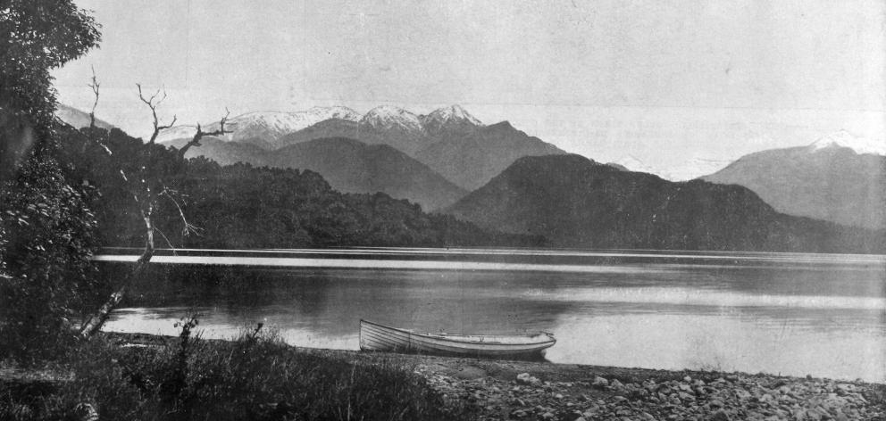 Lake Kanieri, a lovely sheet of water, about 19 kilometres from Hokitika, Westland. — Otago Witness, 20.1.1920.
