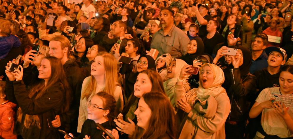 Revellers in the Octagon watch the fireworks display. PHOTO: GERARD O'BRIEN