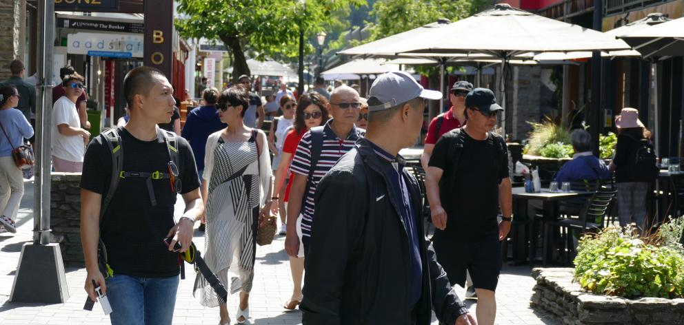 Tourists pictured in Queenstown Mall yesterday. PHOTO:  TRACEY ROXBURGH