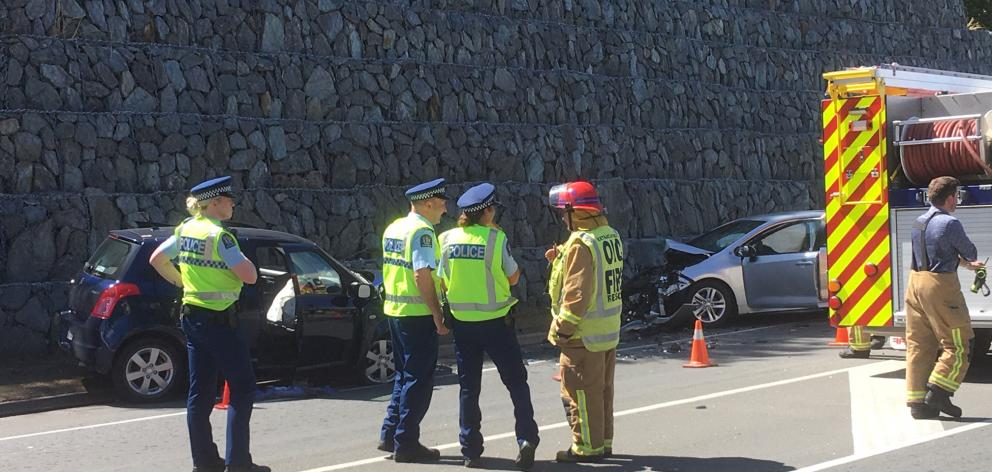 Emergency services at the crash scene last week. Photo: Guy Williams