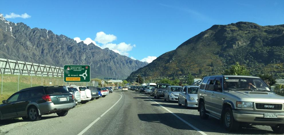 Revamped public transport in Queenstown could help solve traffic jams, such as this one near Queenstown Airport. Photo supplied.