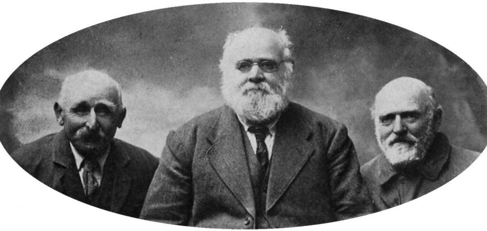 Three old settlers. From left: Henry Taylor Boyer, landed at Invercargill in 1863, now in his...