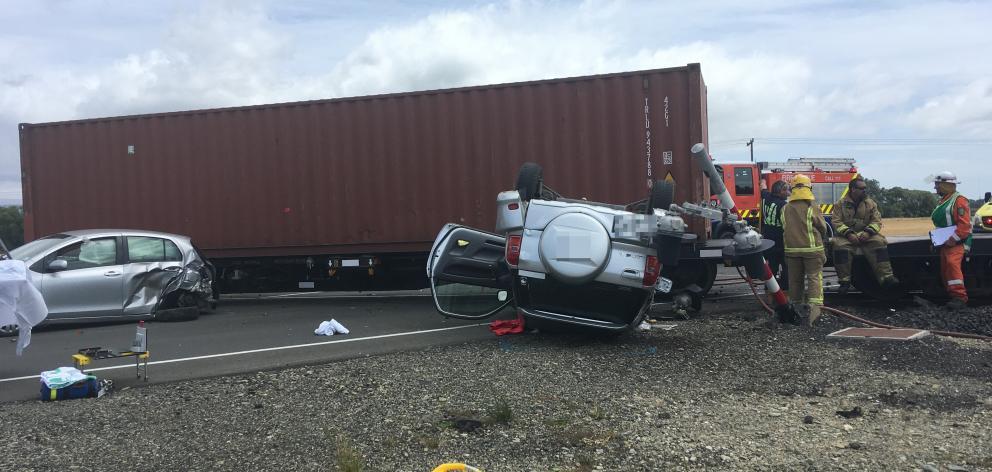 Two vehicles were involved in a crash with a train near Maheno. Photo: Daniel Birchfield