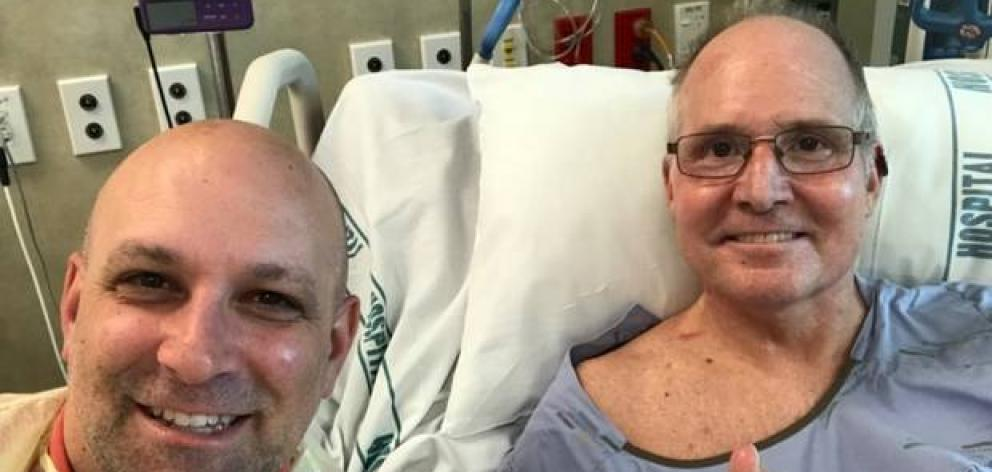 Barry Kohn (left) and brother-in-law Rick Reed, who is in Middlemore Hospital with wife Ivy Kohn Reed, after the White Island volcanic explosion last month. Photo / GoFundMe