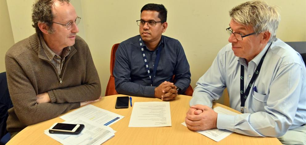 Reviewing coronavirus preparations are (from left) WellSouth medical director Stephen Graham, SDHB medical officer of health Anura Jayasinghe and SDHB chief medical officer Nigel Millar. Photo: Linda Robertson