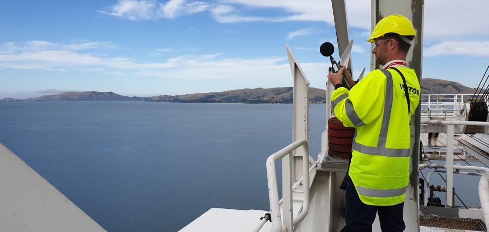 Marshall Day Acoustics consultant Craig Fitzgerald on board Rio de Janiero, where he is measuring...