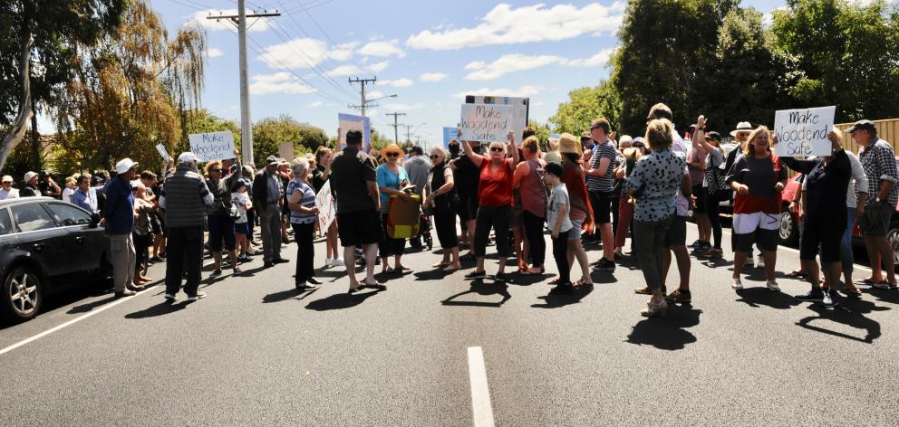 Protesters block State Highway 1 through Woodend. Photos: Shelley Topp