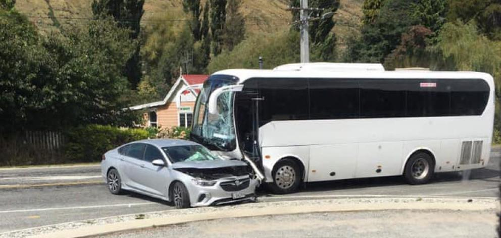 A bus collided with a car at the intersection of State Highway 6 and Kent St in Kingston yesterday. Photo: Supplied