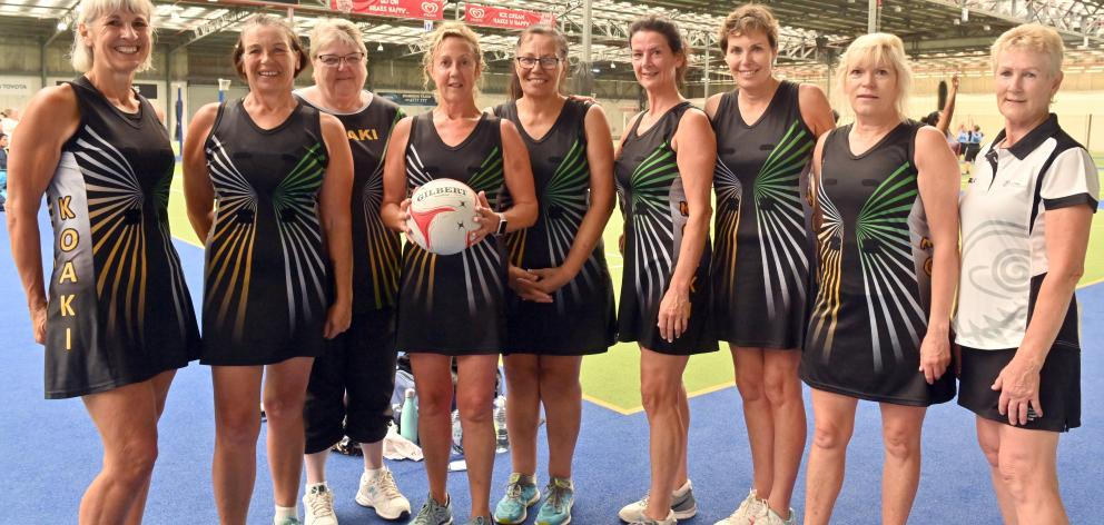 Enjoying the New Zealand Masters Games in Dunedin are the Koaki team of (from left) Judith Lunn, of Morrinsville, Jan Doran, of Mahia, team manager Di Burgess, of Adelaide, Jazqui Peach, of Hamilton, Chris Renata, of Morrinsville, Vicki Todd, of Cambridge