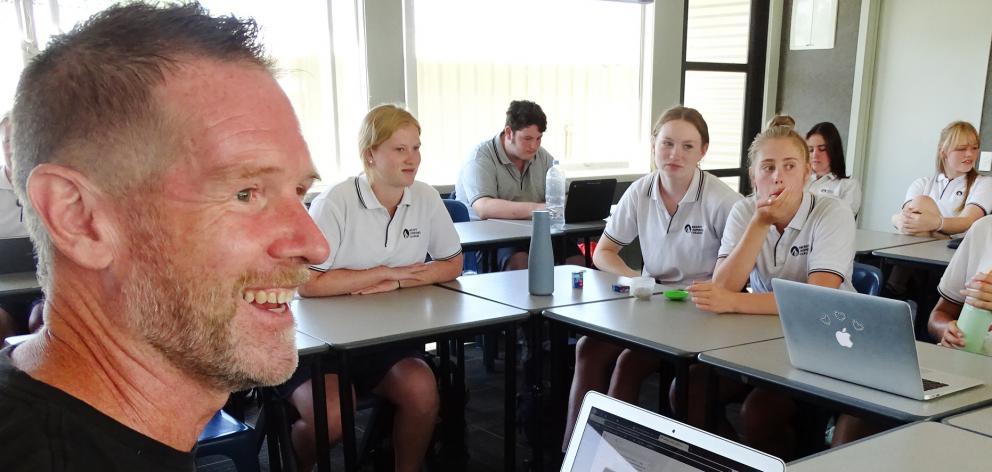 Mount Aspiring College English teacher Christopher Waugh teaches in his innovative, award-winning...
