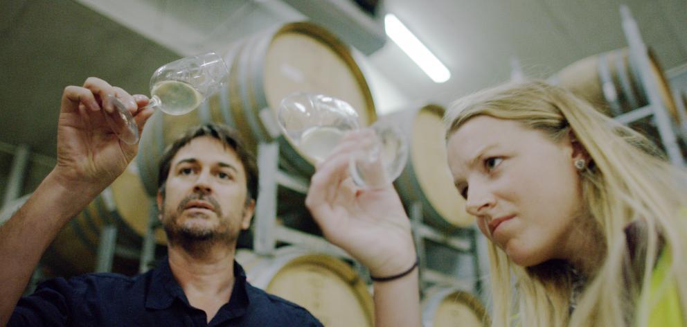 Villa Maria group chief winemaker Nick Picone and Jess Marston assess a barrel sample.