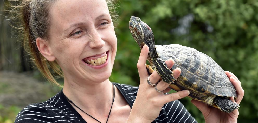 Cjay Neve is over the moon after being reunited with her pet turtle, Ruby. PHOTO: PETER MCINTOSH