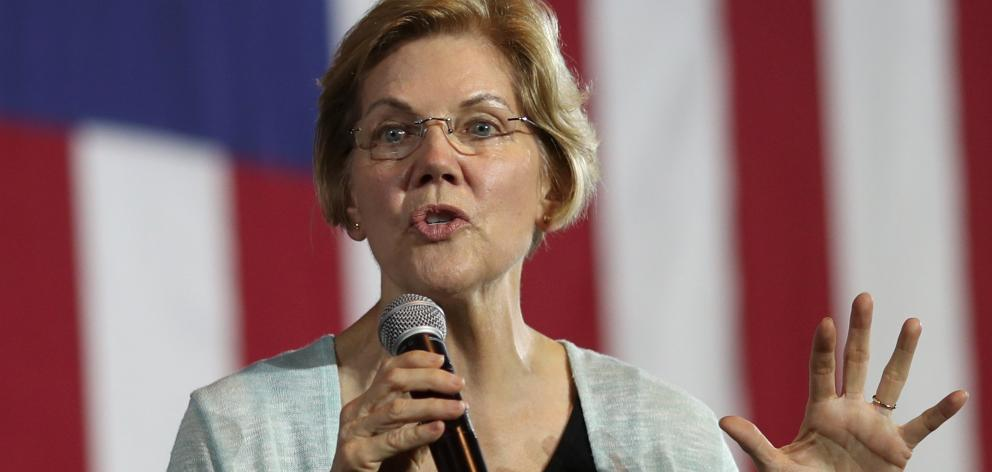 United States Democratic presidential candidate Elizabeth Warren speaks at a town hall in Los...