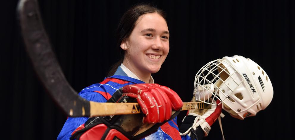 New Zealand under-18 defender Aliyah Christos (16) with the tools of her trade at Queen's High School last week. Photo: Peter McIntosh
