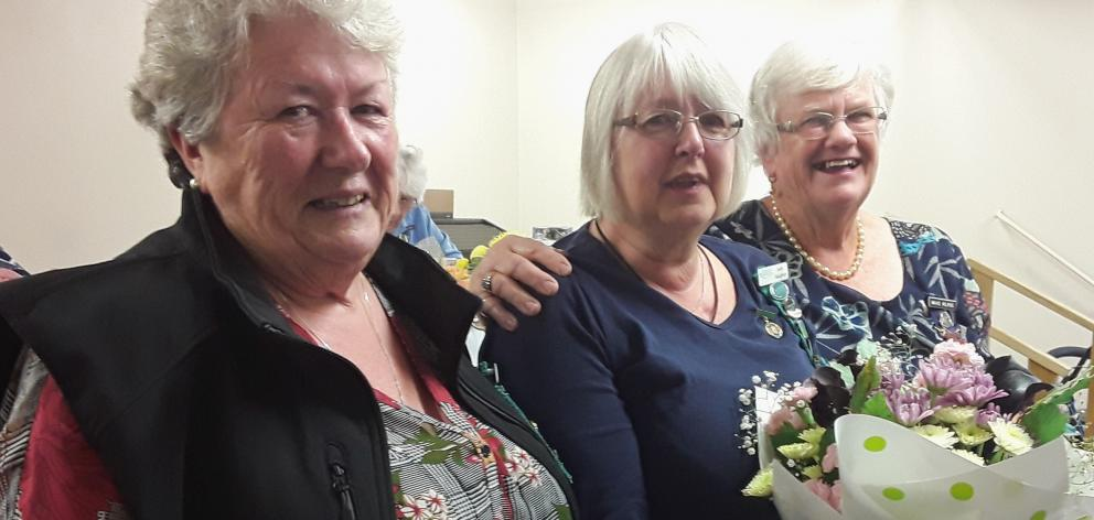 New Zealand Federation of WI's national executive committee member Kathryn Hopkinson (left),...