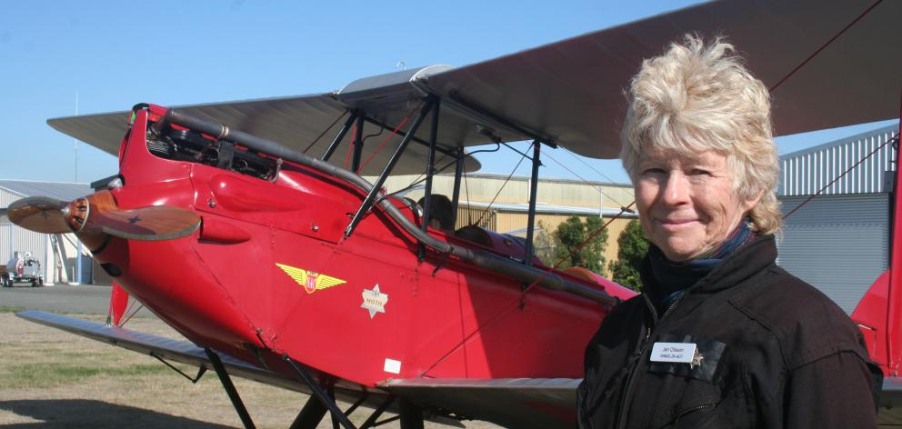 Pilot Jan Chisum and her 1929 Gypsy Moth in Ashburton.