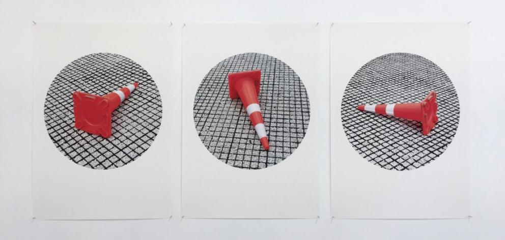 Road cones in church car park triptych, by Eric Schusser