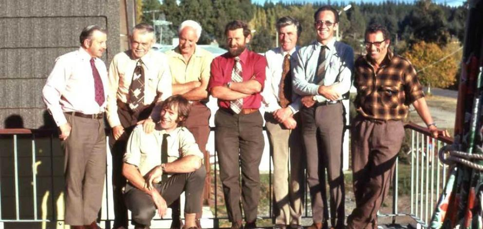 The original Guardians photographed in 1973 with NZ Electricity Department district manager...