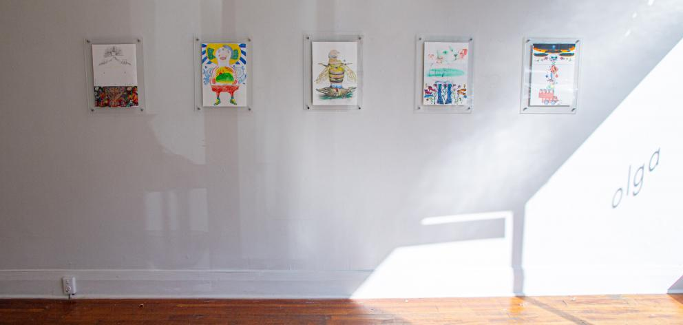 Some of the artwork from the ''Exquisite Corpse'' exhibition at Olga Gallery.