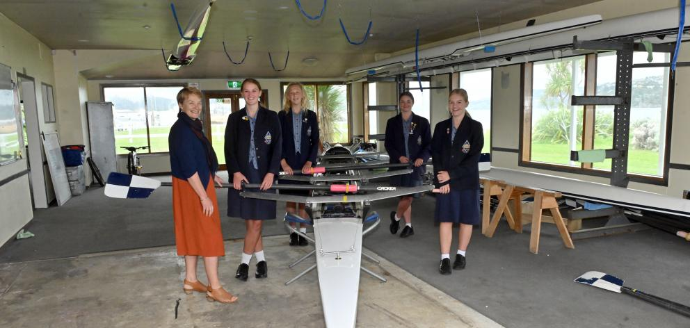 Otago Girls' High School principal Linda Miller and pupils (from left) Grace Twaddle (15), Harriet Thompson (14), Holley Dodd (16) and Morgan Crossley-Little (15) get ready for the opening of their new classroom by the sea, on the site of the former High
