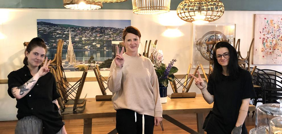 The Perc Central chef Brittany Kingsland (left), owner Sarah Hussey and barista Maddy Clark after they closed the doors of the Dunedin cafe. Photo: Supplied
