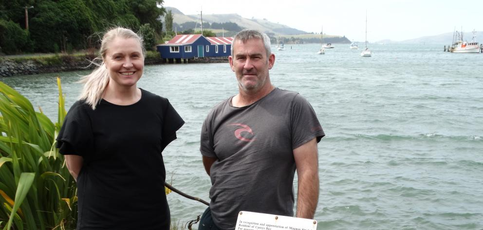 Careys Bay Community Regatta Day organising committee members Jo Kidston (left) and Robbie Ballantyne are urging fans of water sports to form teams and get ready for the Careys Bay Community Regatta Day next Sunday, March 22. PHOTO: BRENDA HARWOOD