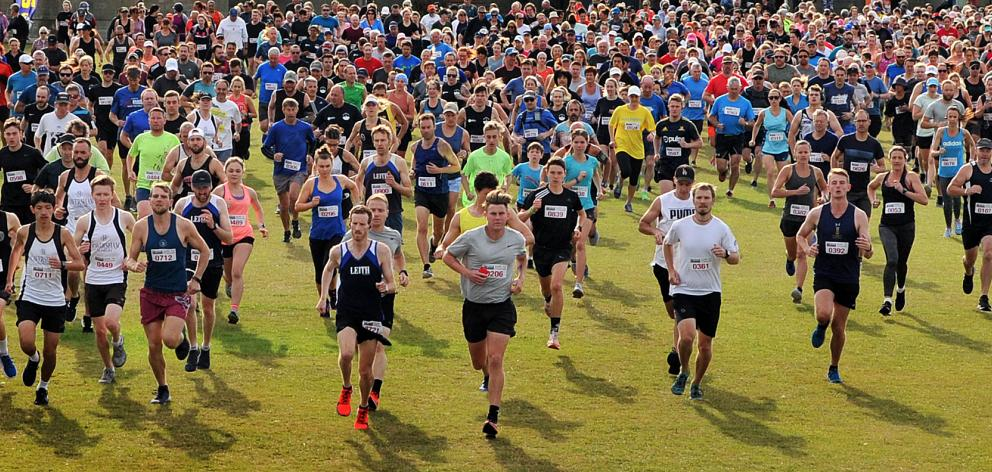 Runners begin the Surf to Stadium Fun Run and Walk event in Kettle Park, in Dunedin, yesterday....